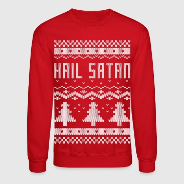 Satan Ugly Christmas Hail Satan Sweater - Crewneck Sweatshirt