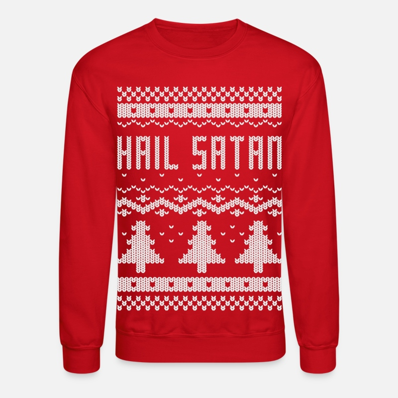 "Christmas Hoodies & Sweatshirts - Ugly Christmas ""Hail Satan"" Sweater - Unisex Crewneck Sweatshirt red"