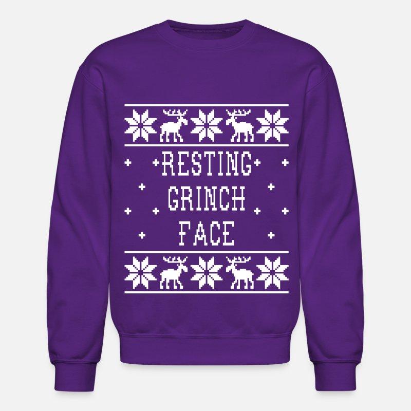 7a42108fc50e41 Resting Grinch Face - Ugly Christmas Sweatshirt Unisex Crewneck Sweatshirt  | Spreadshirt