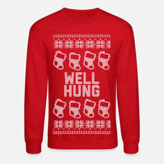 Christmas Hoodies & Sweatshirts - Well Hung - Unisex Crewneck Sweatshirt red