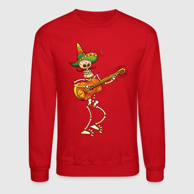 Skeleton Mexican Skeleton Playing Guitar - Crewneck Sweatshirt