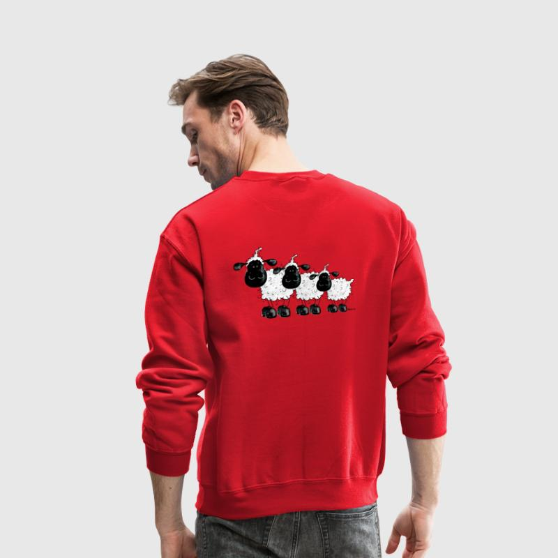 Three Cute Black Sheep Cartoon - Crewneck Sweatshirt