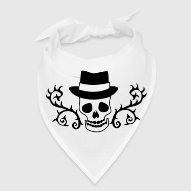 creepy skull with a hat and ornamental thorns - Bandana