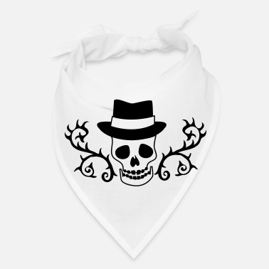 Ornament creepy skull with a hat and ornamental thorns - Bandana
