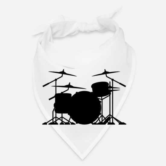 Isolated Caps - Drum set silhouette illustration - Bandana white