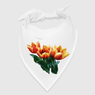 Three Orange And Red Tulips - Bandana