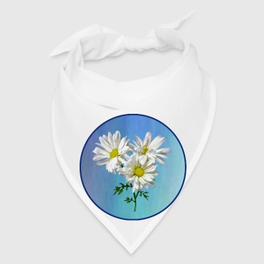 Three White Daisies w Background - Bandana