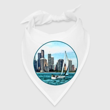 Chicago IL - Sailboat Against Chicago Skyline - Bandana