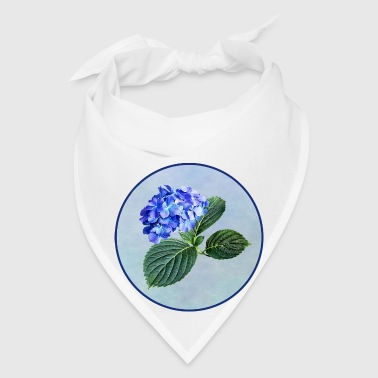Dark Blue Hydrangea with Leaves w Background - Bandana
