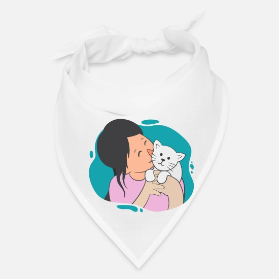 Caterpillar Caps - Girl And Her Cat - Bandana white