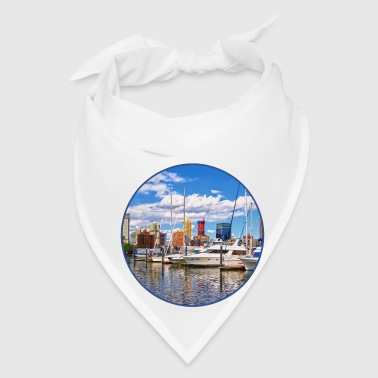 Liberty Landing Marina Against Jersey City Skyline - Bandana