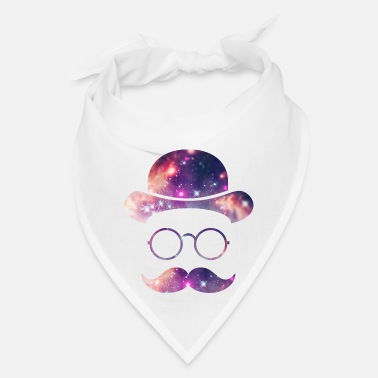 Retro Retro Face with Moustache & Glasses / Universe  - Bandana