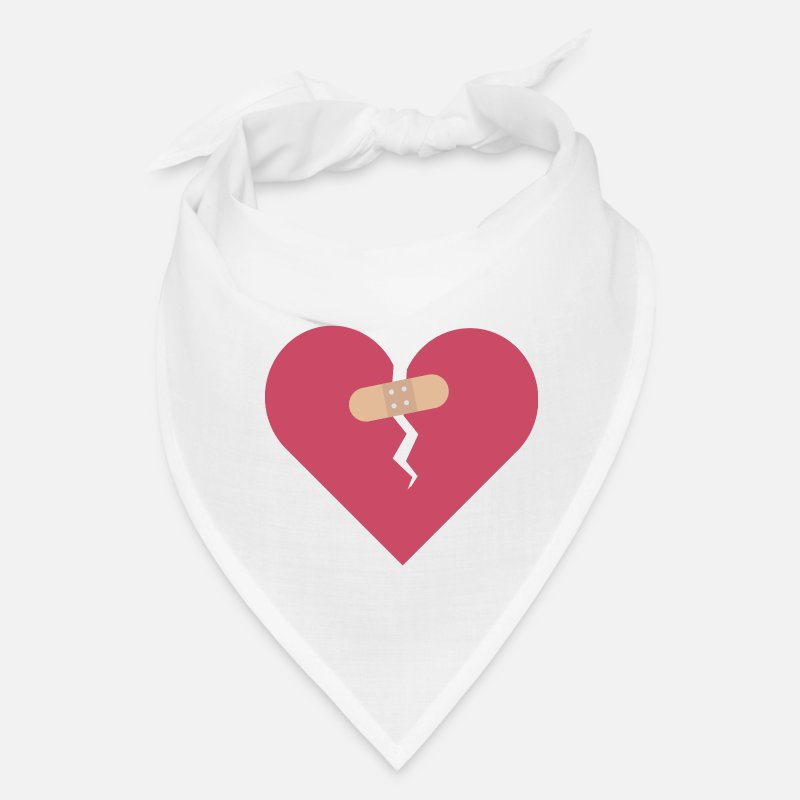 Broken Heart Caps - broken heart healed by patch - Bandana white