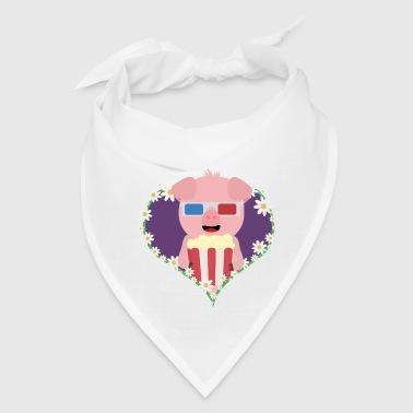Cinema Pig with flower heart - Bandana