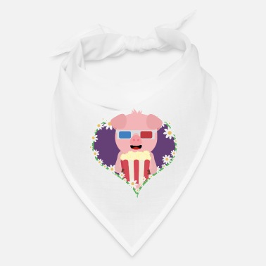Motion Cinema Pig with flower heart - Bandana