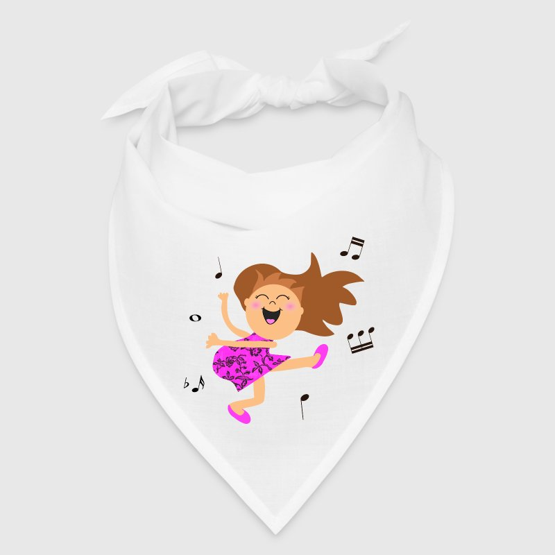 Cute dancing girl cartoon in hot pink dress - Bandana