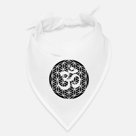 Yogi Caps - Flower of life with Om sign Buddhism goa gift - Bandana white