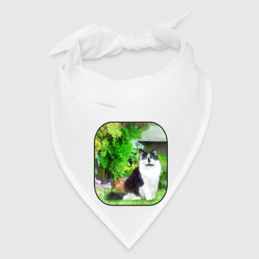 Black and White Cat by Flowers - Bandana