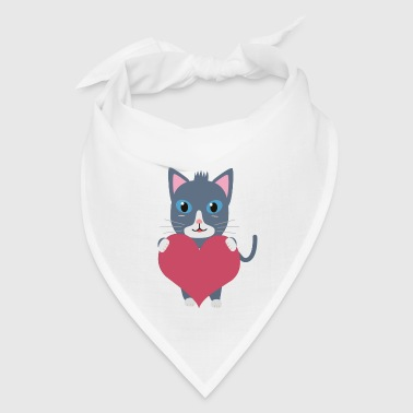 Romantic cat with heart - Bandana