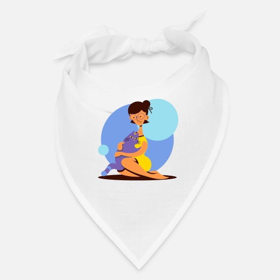 Catholic Caps - Girl And Her Cat Illustration - Bandana white