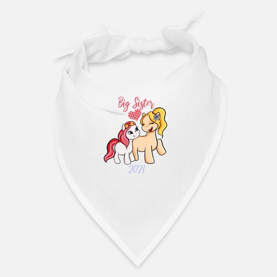 Big Caps - Big Sister 2021 Shirt Cute Horses - Bandana white
