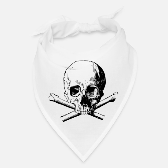 Skull Caps - SKULL AND CROSSBONES - Bandana white