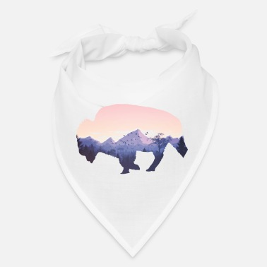 Native American Buffalo Native American Buffalo Bison Mountain Wilderness - Bandana