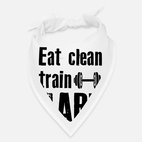 Clean Caps - Eat Clean Train Hard - Bandana white