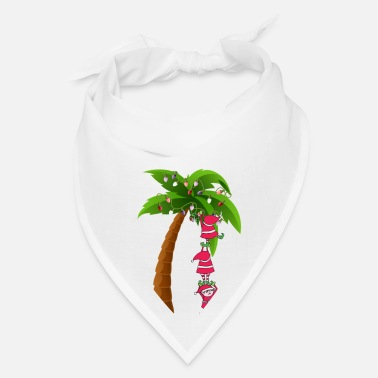 Pretty CHRISTMAS AT THE BEACH print SANTAS ELVES PALM - Bandana