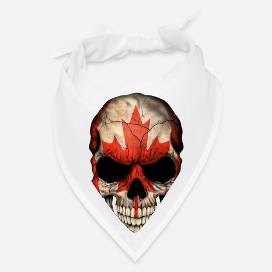 Flag Caps - Canadian Flag Skull - Bandana white