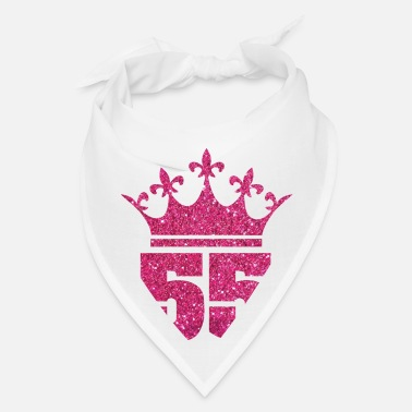 Heart 55th Age Queen, Pink Glitter - Bandana