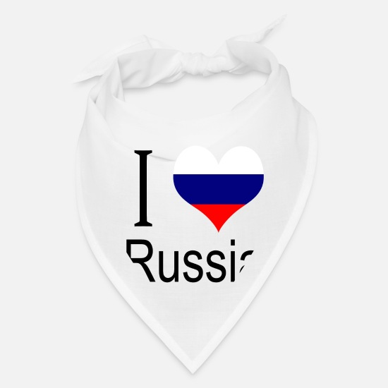 Love Caps - I Love Russia Heart Country europe gift flag - Bandana white