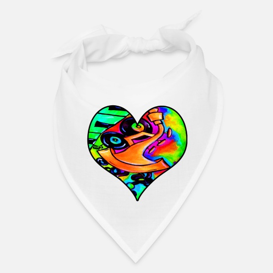 Trumpet Caps - Abstract bold and colorful musical instrument hear - Bandana white