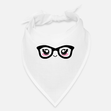 Facial Expressions Cute funny kawaii facial expression with glasses - Bandana