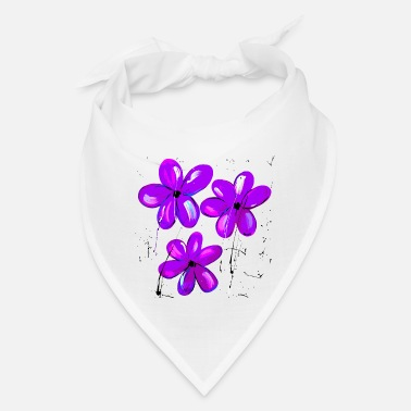 3 purple flowers violtette - Bandana