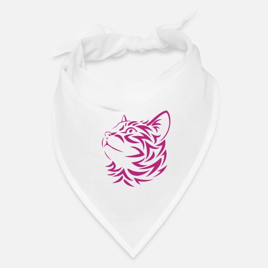 Cat Face Caps - Kitten Face Stencil - Bandana white