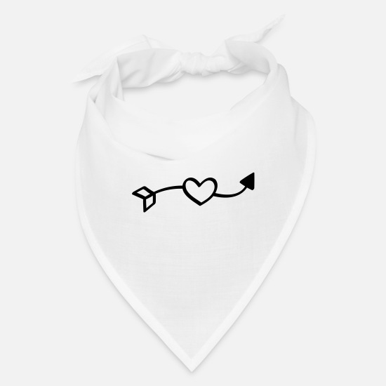 Heart Caps - Love arrow - hand drawn comic style, falling in - Bandana white