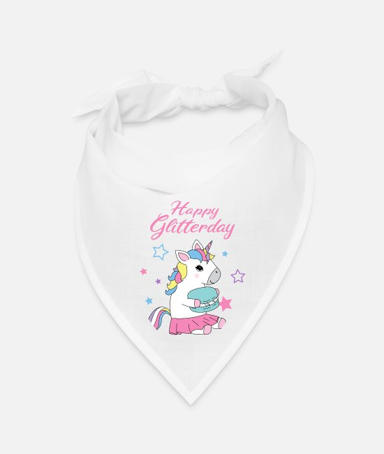 Happy Bandanas - Unicorn Happy Birthday - Bandana white