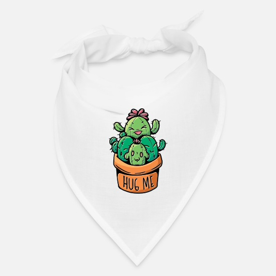 Prickly Caps - Cacti hug me flower pot with funny cactus - Bandana white