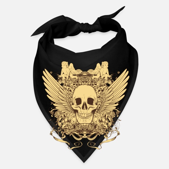 Floral Caps - Winged Skull - Bandana black