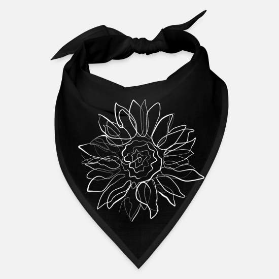 Gift Idea Caps - Sunflower - one line drawing - Bandana black