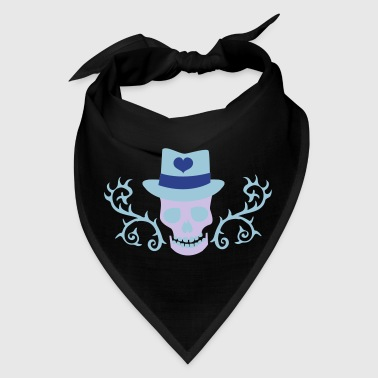 creepy gothic skull with top hat and thorns - Bandana