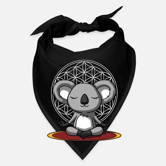 Meditation Caps - Cute Koala Bear Zen Yoga Meditation - Bandana black