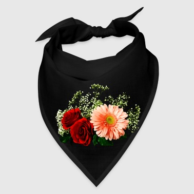 Gerbera Daisy And Two Roses - Bandana