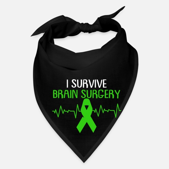 Injury Caps - Brain Injury Awareness TBI Green Support Recovery - Bandana black