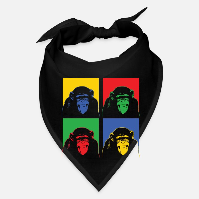 Banana Caps - Monkey Pop Art Zookeeper Zoo Animal Funny Gift - Bandana black
