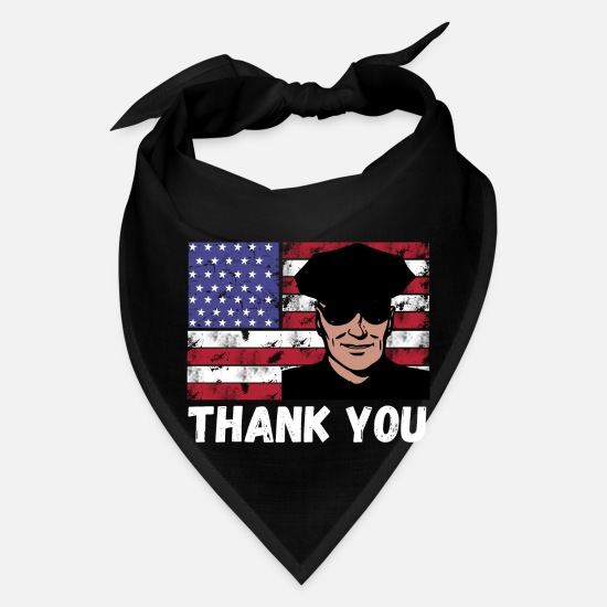 Police Officer 4th Of July Shirts Caps - Thank you police officer 4th of July vintage - Bandana black