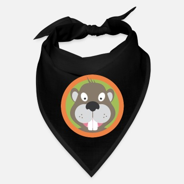 Beaver Cute Beaver head with orange circle - Bandana