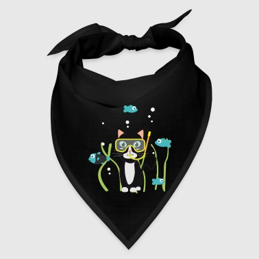 Underwater diving cat with fish - Bandana