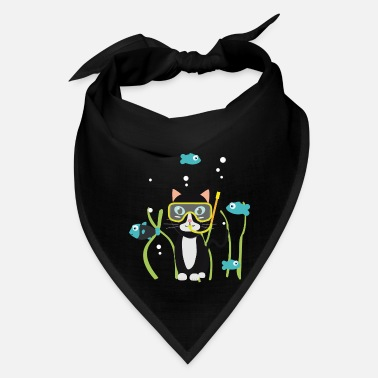 Scuba Underwater diving cat with fish - Bandana